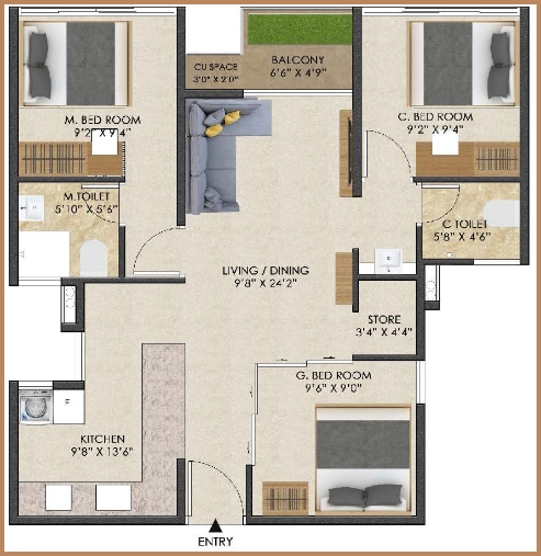iconest5 floor plan three
